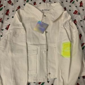 Missguided off white denim jacket